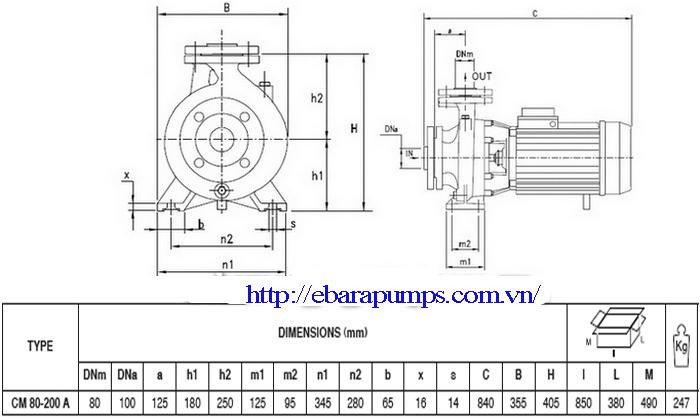 Bảng chi tiết kích thước của Máy bơm công nghiệp Pentax CM 80-200A