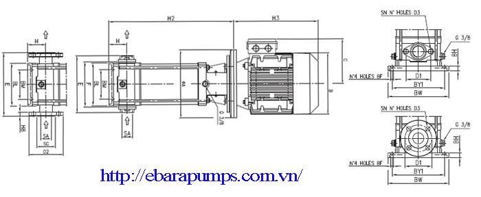 Chi tiết cấu tạo của Máy bơm nước Ebara EVM