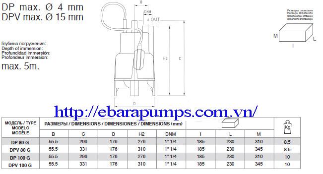 Chi tiết kích thước của Máy bơm nước thải pentax DPV