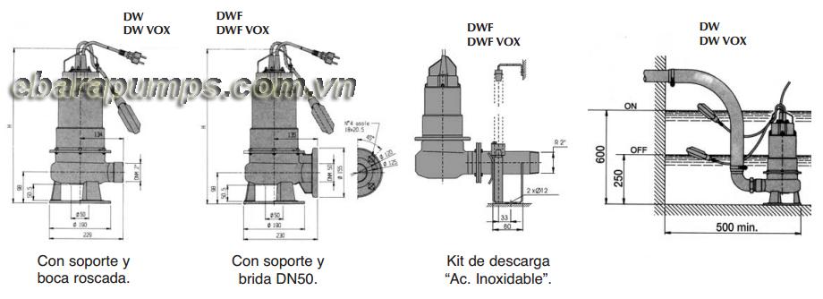 Chi tiết cấu tạo của Máy bơm nước thải Ebara DW-DW VOX